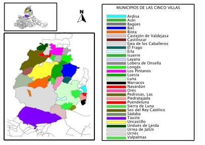Municipios que forman la comarca de las Cico Villas