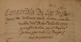 Encabezamiento de la concordia entre los infanzones de Undués y los de la villa de la Real