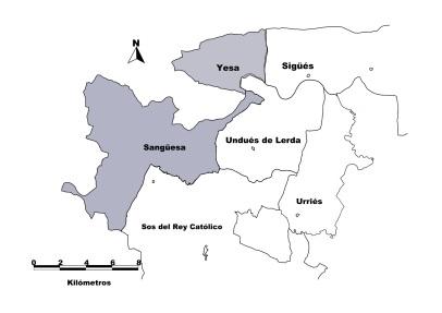Limites del municipio de Undués y de sus colindantes. Los municipios sombreados en gris pertenecen a la comunidad Foral de Navarra, los restantes están en la comunidad de Aragón