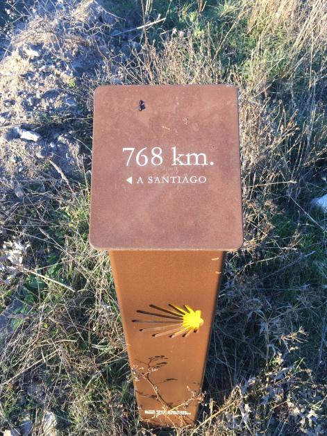 Punto kilométrico del camino de Santiago