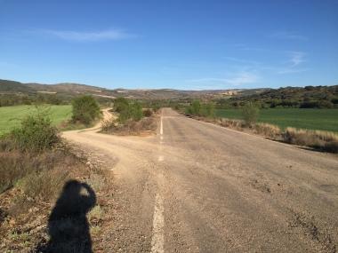 Cruce de la carretera con el camino de Santiago. Tomaremos hacia la izquierda